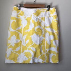 Ann Taylor Yellow Floral Cotton Skirt